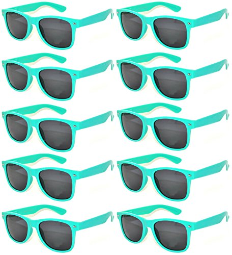 [10 Pack Turquoise Frame Vintage Sunglasses Smoke Lens OWL] (Halloween Nerd Accessories)