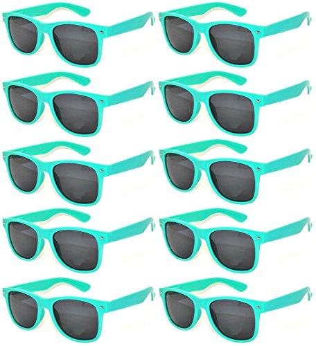 10 Pack Turquoise Frame Vintage Sunglasses Smoke Lens OWL. -