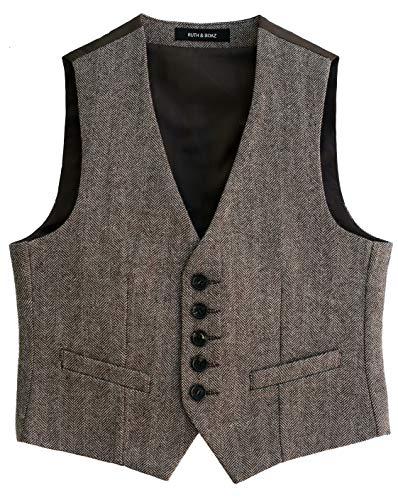 Ruth&Boaz Big Boy's Wool Blend 2Pockets 5Buttons Herringbone Tweed Vest : 8-14 Years (8, Herringbone Brown)
