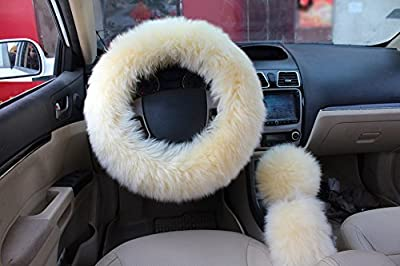 3Pcs Faux Wool Plush Warm Steering Wheel Cover Woolen Handbrake Cover Gear Shift Cover Car Accessory