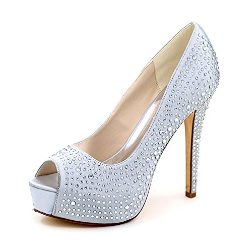 amp; autumn Winter Women'S Shoes High 3128 Shoes L Silver Club Wedding Platform 14 Heels Spring Summer YC YAS0O
