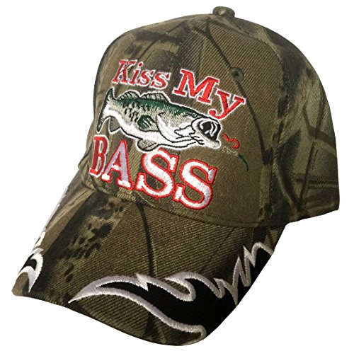 3D Embroidered Kiss My Bass Camo Fisherman Baseball Cap Hat, Adjustable (Full Camo)