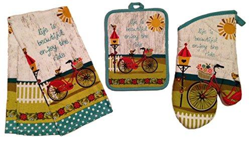 Kay Dee Designs, Enjoy the Ride Kitchen Linen Set, Terry Towel, Oven Mitt, Potholder