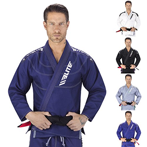 Elite Sports NEW ITEM IBJJF Ultra Light BJJ Brazilian Jiu Jitsu Gi w/ Preshrunk Fabric & Free Belt (Navy, A3)