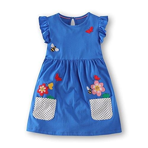 Girls Crewneck Cotton T-Shirt Dresses Animal Applique Dress Short Sleeve (3T, Butterfly&Flower) (Animal Applique Butterfly)