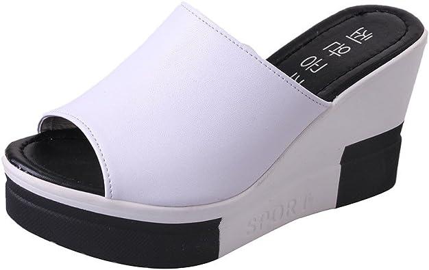 ❉Sandales Compensées Femmes Tongs Chaussures Compensées Chaussures De Plage Mules Chausson Pantoufles été Mode Loisirs Poisson Bouche Sandales