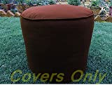 Cotton Round Cord Piping Footstool Large Pouf Cover (brown, 20