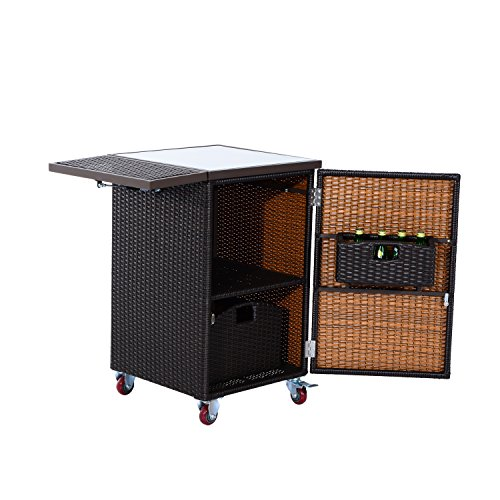 "Kitchen Trolley Accessories: Outsunny 35"" Rolling Rattan Wicker Outdoor Kitchen Trolley"