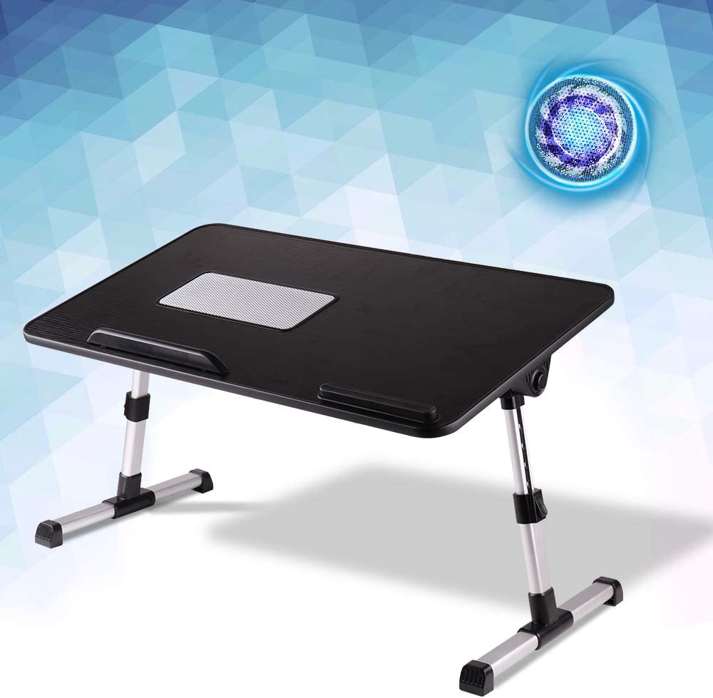 KCO Laptop Bed Table Tray with Foldable Legs Portable Bed Desk Laptop Stand Sofa Bed Table with Computer Holder USB Cooling Fan for Eating, Working, Writing, Drawing, Black