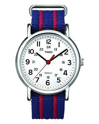 Timex Weekender Stripe | Red/Blue Slip-Through Strap | Casual Watch T2N747 ()