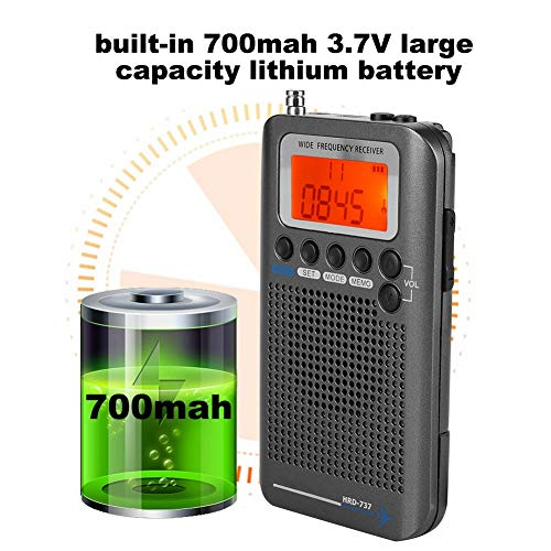 Bewinner Portable Aircraft Radio Receiver,Full Band Radio Receiver - AIR/FM/AM/CB/SW/VHF,LCD Display with Backlight,Chip Has a Powerful Memory,with Can Extended Antenna(Black)