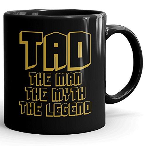 Custom Tad Gift - The Man The Myth The Legend - Coffee Mugs for Men, Husband, Father, Boyfriend - 11oz Black Mug - Gold Black 1