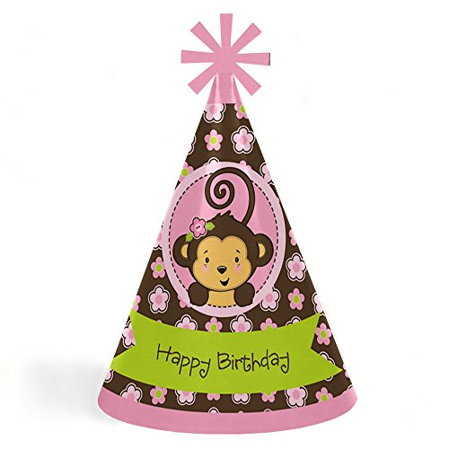 Pink Monkey Girl - Cone Happy Birthday Party Hats for Kids and Adults - Set of 8 (Standard Size)