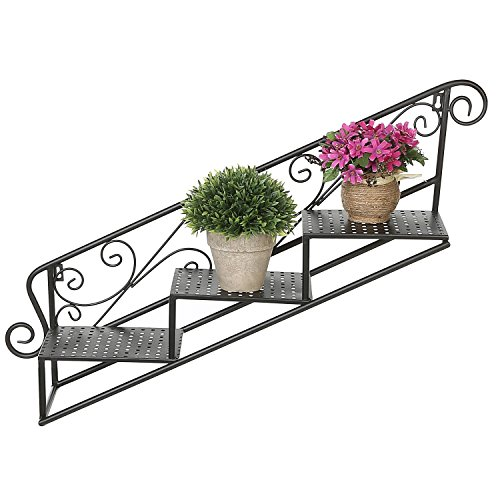 3-Tier Metal Scrollwork Design Wall Mounted Staircase Plant Rack, Display Floating Shelves