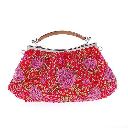 pratico per da borsa Yzibei vintage da Borsa sera Rosso borsa paillettes in sera Argento Colore sposa donna da donna con da rilievo dwqCTw
