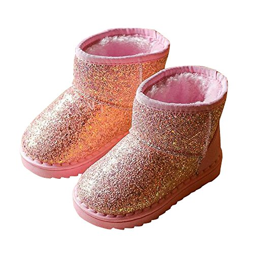 BININBOX Girls Bling Sequins Snow Boots Warm Cotton Shoes Winter Boots (6.5 M US Toddler, Pink) by BININBOX (Image #1)