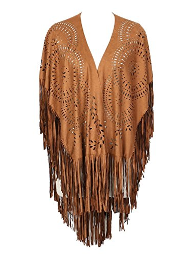 PERSUN Women's Faux Suede Kimono Cape Fringed Asymmetric Cover up Shawl Brown -