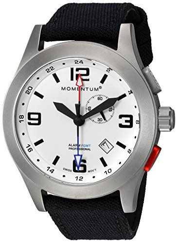 - Momentum Men's Vortech GMT Titanium Swiss-Quartz Watch with Canvas Strap, Black, 22 (Model: 1M-SP58L6B)
