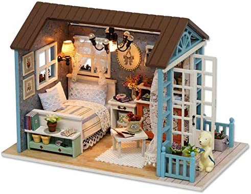 Blue time fai da te piccola casa in vetro modello assemblato a