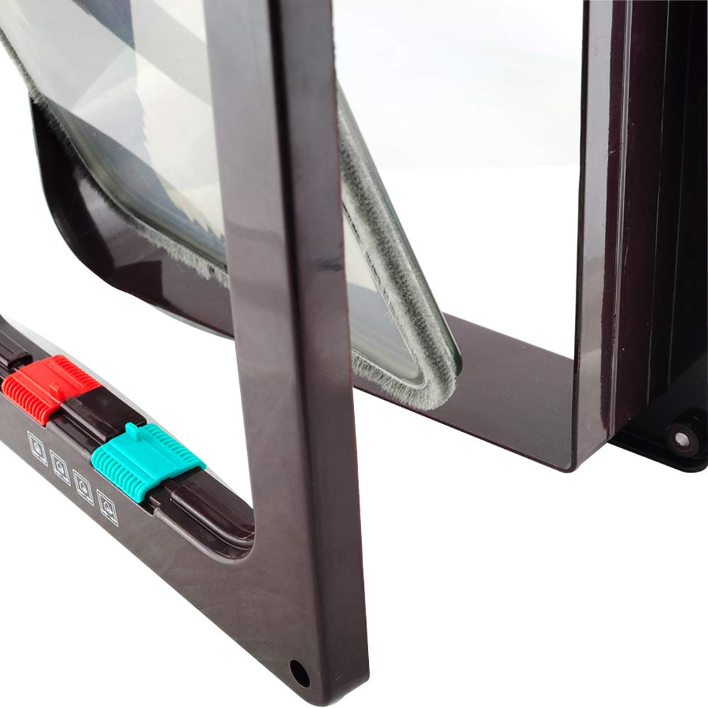 Denshine Chatière verrouillable manuelle pour fenêtre/porte Marron