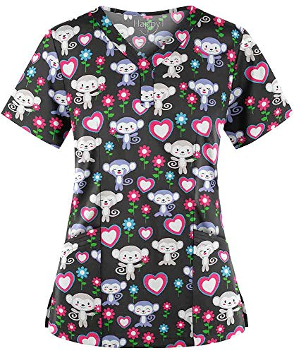 Women's Monkey Garden Pewter Y-Neck Stretch Print Scrub Top (XS-3X) (XXX-Large)