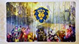 "Alliance World of Warcraft Wow TCG playmat, gamemat 24"" wide 14"" tall for trading card game smooth cloth surface rubber base"