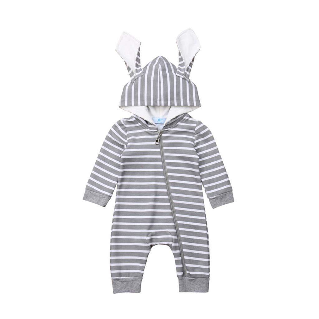 Rosatro Baby Rompers Newborn Infant Stripe Zipper Hooded Romper