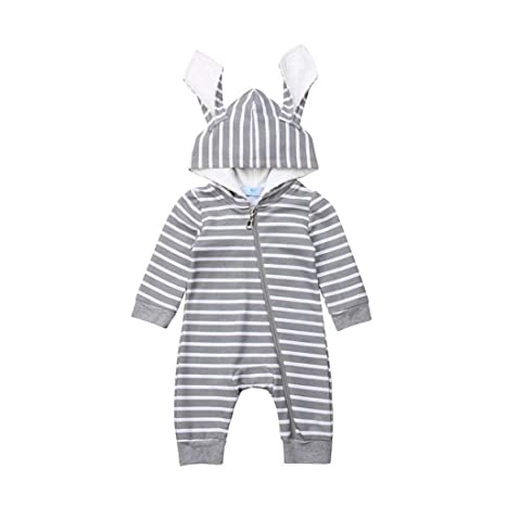 US Newborn Kid Baby Boys Stitch Flannel Zipper Hooded Romper Jumpsuit Outfit Set