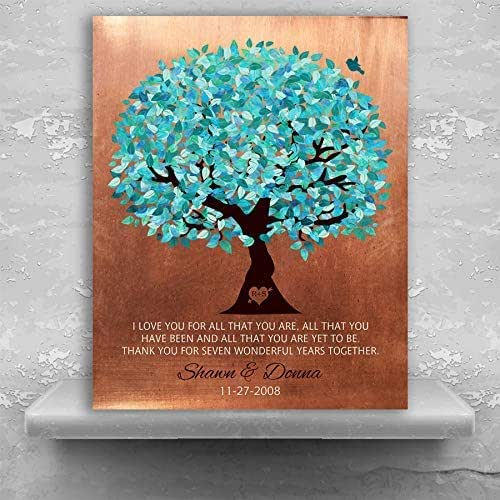 22nd Wedding Anniversary Gift Ideas: Amazon.com: 7th Wedding, Personalized Gift, Faux Copper, Turquoise Tree, 7 Year Anniversary