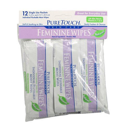 - Puretouch Skin Care Individual Flushable Moist Feminine Wipes, 12 Count