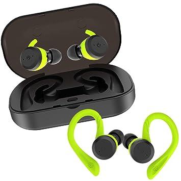 Auriculares Bluetooth Inalámbricos iPX7 Impermeable con Doble Ganchos para el Deporte Estéreo in Ear Bluetooth 5.0 Manos Libres con micrófono Dual ...