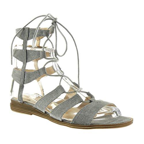 Talon Spartiates Angkorly Mode Multi Femme Gris Bride Sandale Bloc Brodé Sexy cm 2 Chaussure qxa1xA