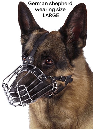 BronzeDog Wire Basket Dog Muzzle German Shepherd Metal Leather Adjustable Large (L) (Muzzles Wire Basket)