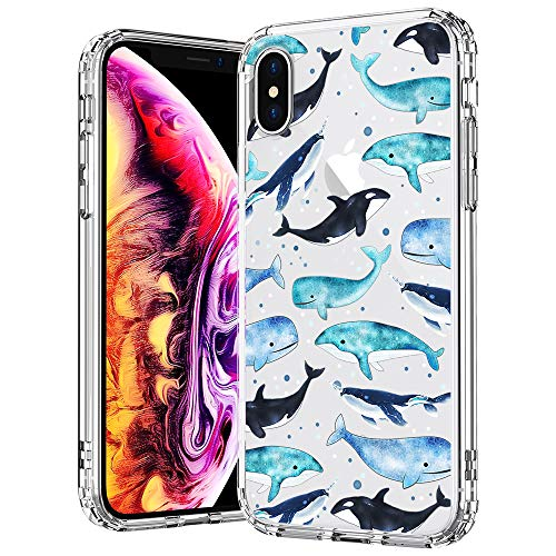 MOSNOVO Case for iPhone Xs/iPhone X, Whale Pattern Clear Design Printed Transparent Plastic Back Hard Case TPU Bumper Protective Case Cover for Apple iPhone X/iPhone Xs