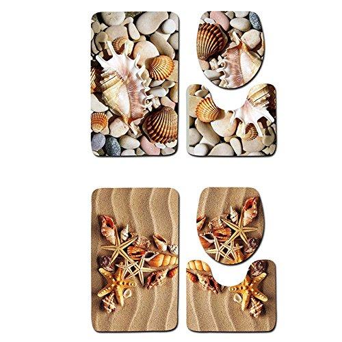 pinnacleT1 3PC Bath Mat Rug Set -Beach Starfish Sea Shell Sand Holidays Summer Bathroom Carpet Rug - Ocean Style Non-Slip Bathroom Floor Mat Set by pinnacleT1 (Image #2)