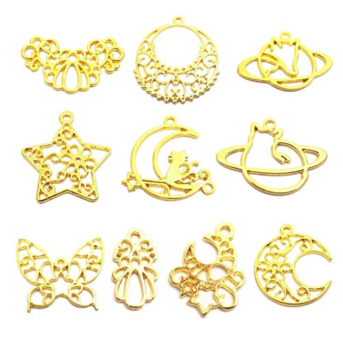 EHOO 10Pcs Butterfly Moon Star Pendant Tray-Alloy Open Bezel Charm Pressed Flower Blank Frame Hollow Mould Pendants with Loop for UV Resin Crafts Jewelry Making