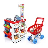 Qm-h Pretend Play Simulation Super Store Cashier Playsets with Lights, Sound and Accessories Red 999A-01(LHW=18.9x32.3x16.2Inches)