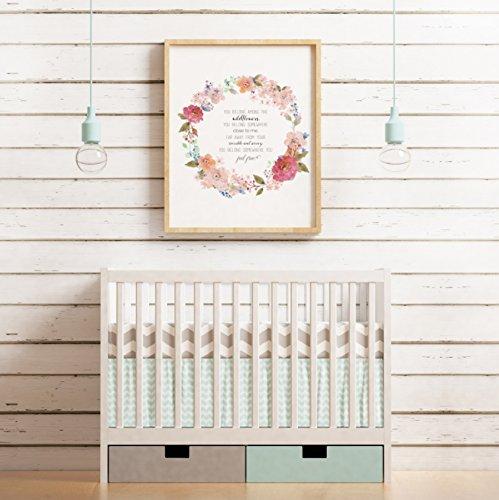 Tom Petty Lyrics, Nursery Print, 18 x 24 Inches, Watercolor, Wildflowers Lyrics, Nursery Quotes, Floral Nursery, Wall Decor, Floral Wreath,