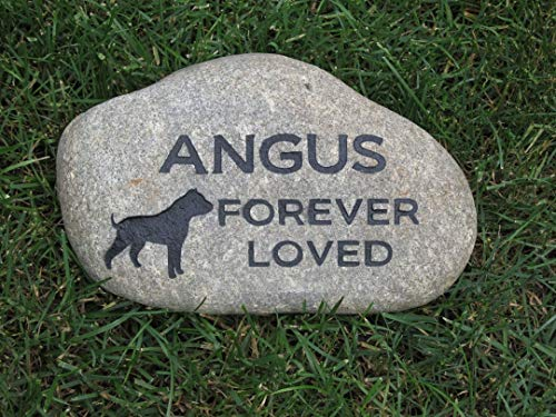 Pitbull Pet Memorial Stone, Memorial Gift, 9-10 Inch Riverstone All Dog Breeds Available