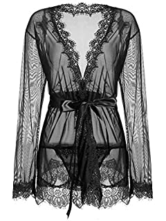 5b72eab5081 IngerT Women Nightwear Solid Color Sash Decor Transparent V Neck Long  Sleeves Sexy Robe with Thong