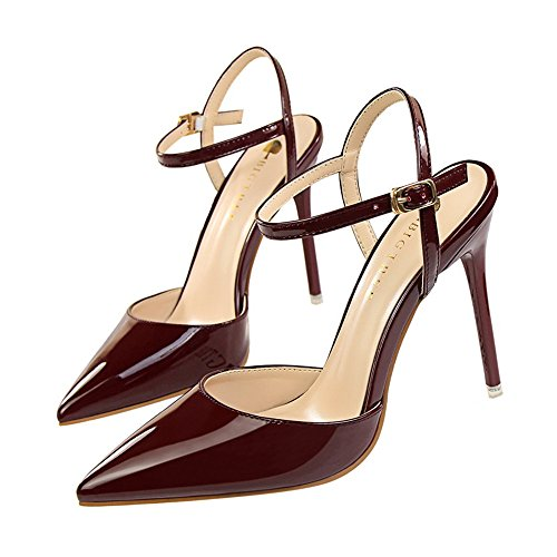 z&dw Simple boca profunda aguda y ultra altos tacones muestran delgadas con sandalias Tinto de vino
