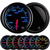 """GlowShift Tinted 7 Color 300 F Oil Temperature Gauge Kit - Includes Electronic Sensor - Black Dial - Smoked Lens - for Car & Truck - 2-1/16"""" 52mm"""