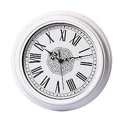 Foxtop 12 Inch Silent Non-ticking Classic Quartz Wall Clock Decor Living Room Roman Numeral Clocks White