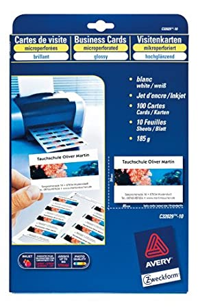 Avery packet of 100 business cards for inkjet laser printers and avery packet of 100 business cards for inkjet laser printers and copiers glossy 185 g 85 reheart Image collections