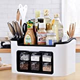KINGZHUO Multifunction Kitchen Countertop Storage Spice Rack Cutlery Holder Tray Knife Block Useful Organiser for Spice Cutlery Knives Sauces Bottles with Seasoning Box
