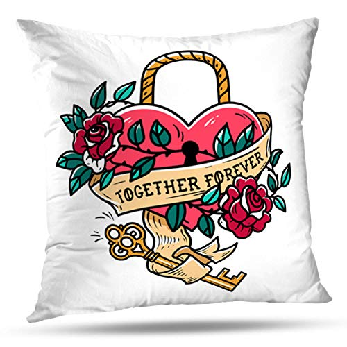 Darkchocl Decorative Throw Pillow Covers Heart Shaped Lock Tattoo Key Red Rose Square Pillowcase Cushion for Couch Sofa Bed Cotton and Polyester 18 x 18 Inch (Tattoo Of A Heart Lock And Key)