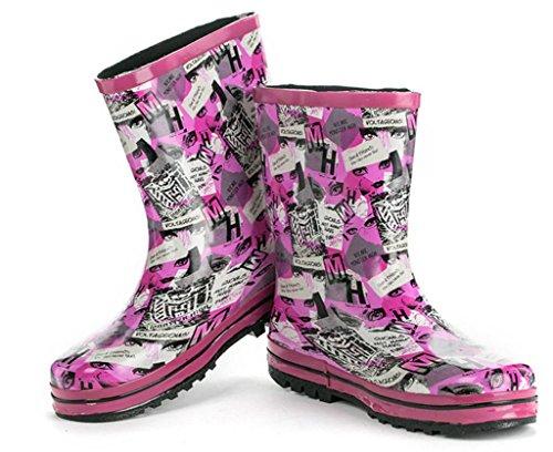 goma blue Sra dibujos de Pintados a animados lluvia mano botas qwXZxU7Rwz
