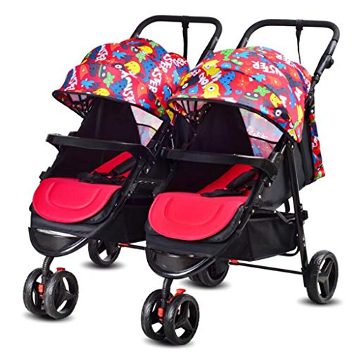 Twin Baby Stroller Detachable Double Triplet Multi-Child Folding Stroller Can Sit 0-3 Years Old,F