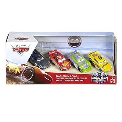Mattel Disney Cars FTX79FIRE Ball Beach Racing Car Pack of 4(H.J. Hollis, Jackson Storm Lightning McQueen Dinoco Cruz Ramirez): Toys & Games