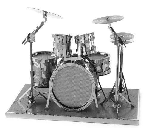 buy metal earth 3d laser cut steel models drum set base guitar and lead electric guitar set. Black Bedroom Furniture Sets. Home Design Ideas